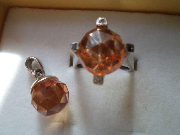 Artystyczny pierścionek i zawieszka ze srebra r.16