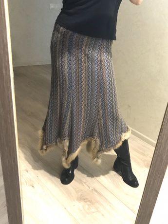 Тёплая юбка 48р, мех лисы