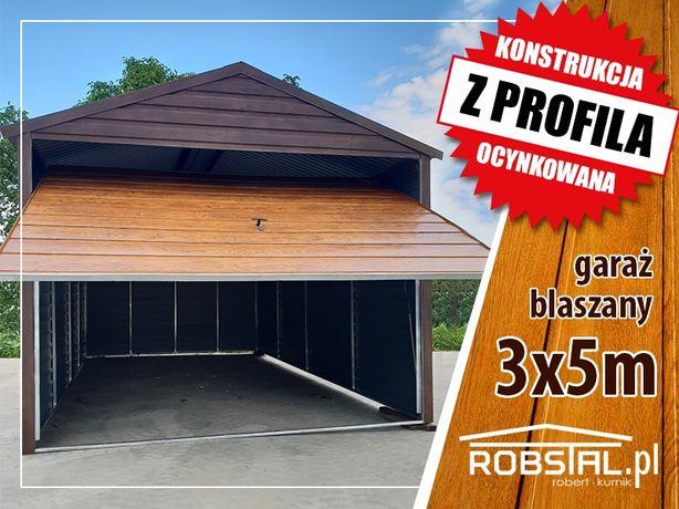 Garaż blaszany 3x5 drewnopodobny poziomy panel, garaże blaszaki