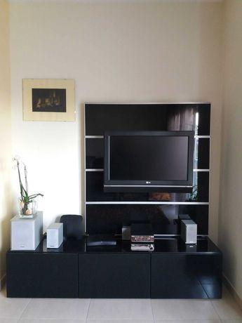 Móvel TV (madeira wenge, alumínio e vidro preto)