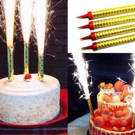 Набір Свічок Феєрверки Для Торта Холодний Фонтан в Торт 4 Штуки