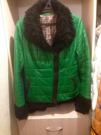 Куртка кожзам зеленая