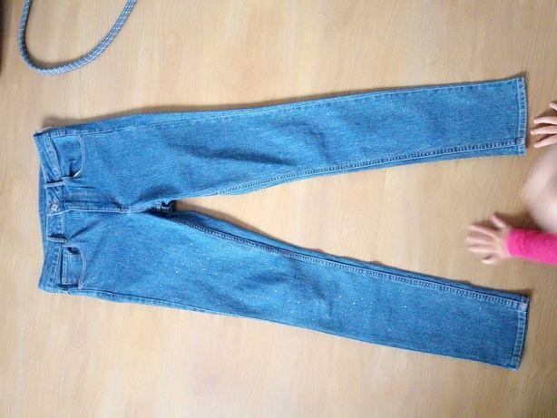 Spodnie jeansy wysoki stan h&m 36 29 kryształy