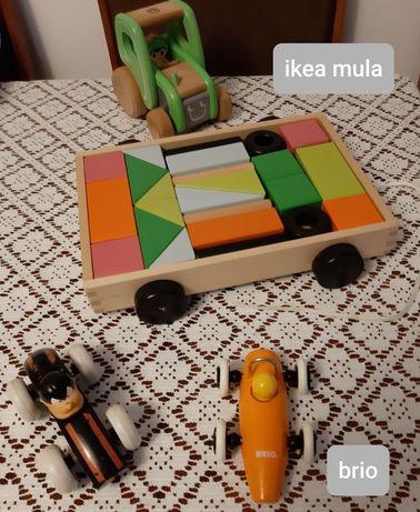Drewniane zabawki, układanki, sorter ksztaltów, piramida