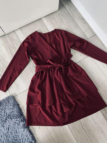 Nowa damska bordowa sukienka krotka pakuten 34 XS 36 S