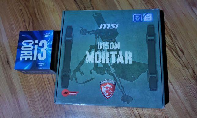 процессор Intel i3-6100 box + материнская плата MSI Mortar B150M