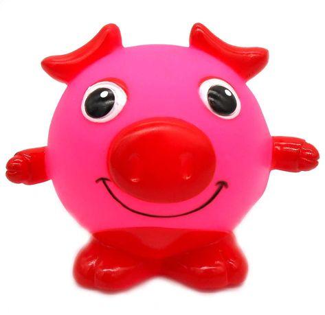 Zabawka gumowa piszczałka dla psa gryzak okrągła świnia piłka 9cm