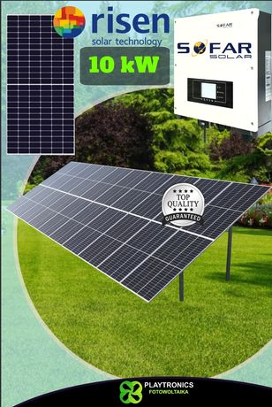 Fotowoltaika dach grunt 10kW panele RISEN 450Wp 500Wp z montażem