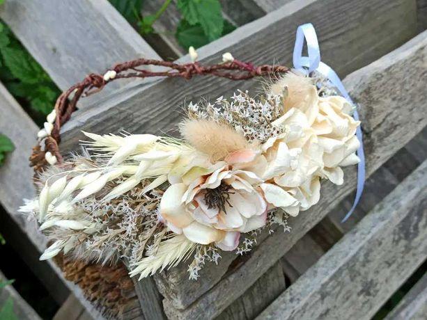 Rustykalny wianek na głowę z suszonych kwiatów
