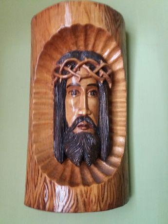 Chrystus rękodzieło  (płaskorzeźba w drewnie lata 80 )