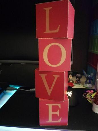 TANIO Kostki Napis LOVE Dekoracja OKAZJA Walentynki