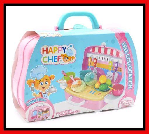 Набор посуды с продуктами, кухня чемоданчик HAPPY CHEF