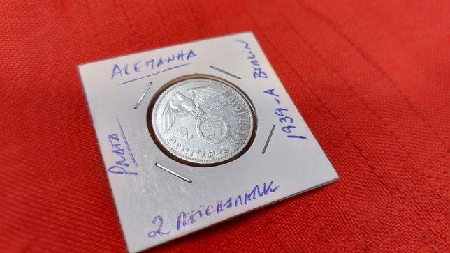 2 reichsmark PRATA 1939 A Berlin--Alemanha nazi-suástica ORIGINAL