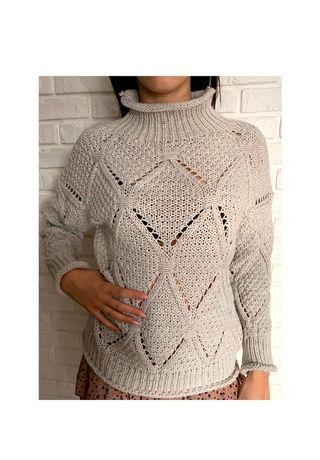 Jasny/beżowy sweter z golfem S M L XL. Golf. Sweter oversize