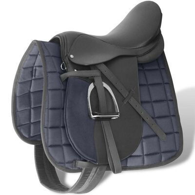 """Sela p/ equitação 17,5"""", couro natural 18cm Preta **envio grátis**"""