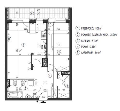 Mieszkanie 2-pokojowe 56,4m2