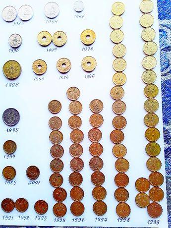 Испанские монеты 1, 5, 25, 100 песет