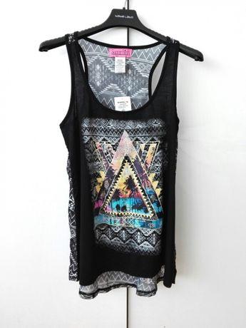 Czarna bluzka z aplikacją w azteckie wzory Kohl's Sugar high S