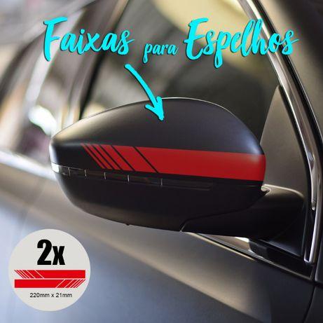 2x Faixas autocolantes p/ Retrovisores ( VW, Honda, Peugeot, Outras)