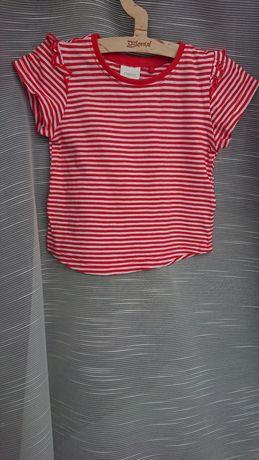 Next 74 bluzka t-shirt z falbankami paski czerwono biała
