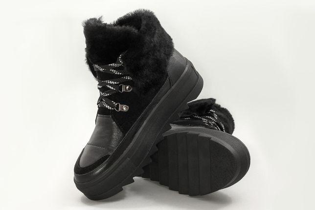 Женские зимние ботинки черные на платформе 38 размер