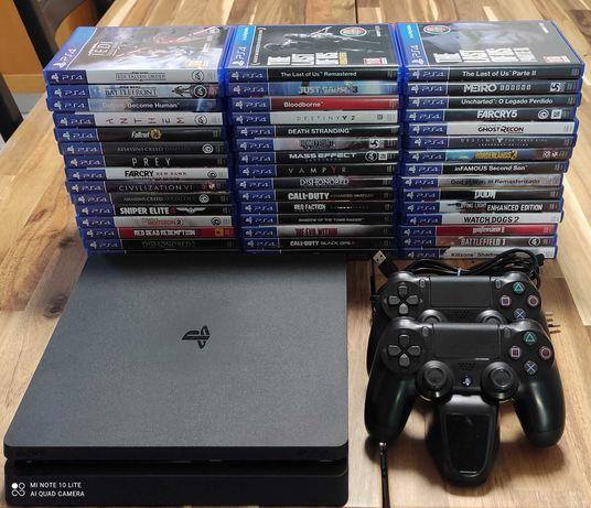 PS4 Slim 1TB + 48 Jogos