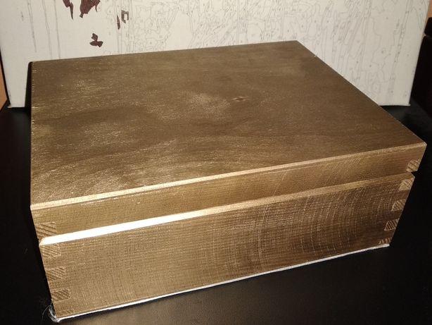 Złote pudełko drewniane ślub