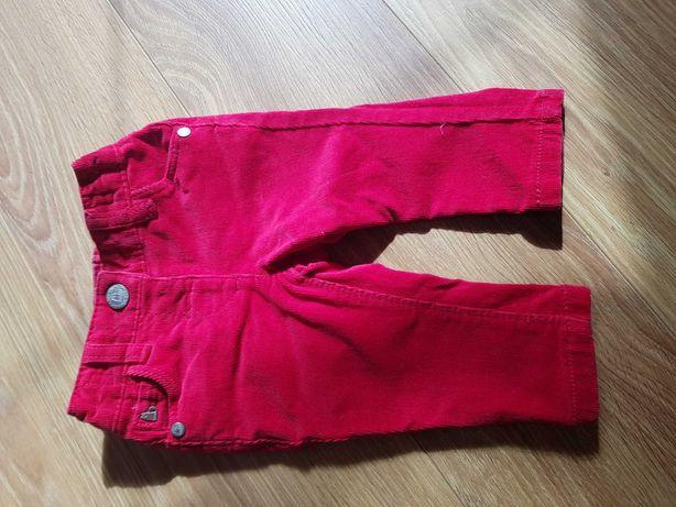 Spodnie sztruksowe r62-68 czerwone NEXT