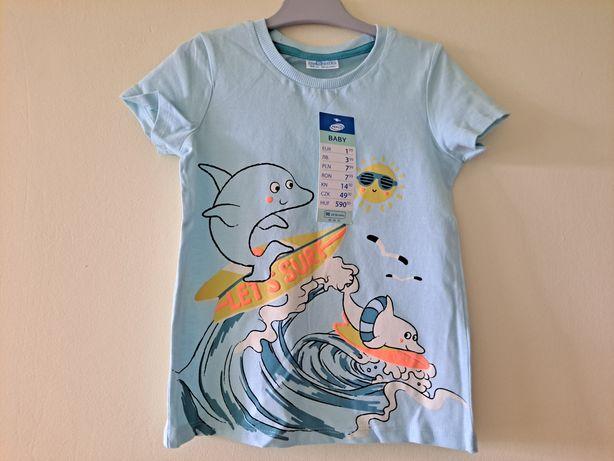 Nowa koszulka, t-shirt z letnim motywem, delfinem 98/104