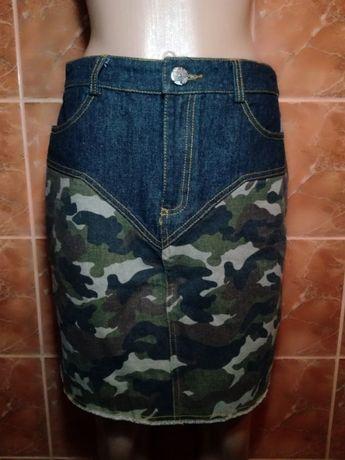 Джинсовая юбка милитари камуфляж
