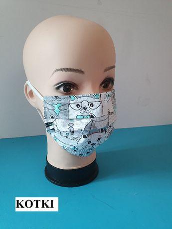 Maseczka Maska 100 % Bawełniana podszywana Wigofilem