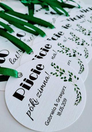 Okrągłe zawieszki na wódkę alkohol wesele ślub