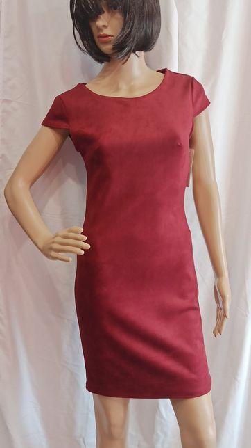 Sukienka bordowa czerwona zamszowa ITALY 38 40 M L