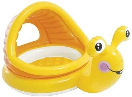 Детский круглый надувной бассейн Улитка INTEX с навесом 145х102х14 см