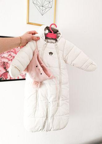 Biały zimowy kombinezon dla niemowląt, uniwersalny, H&M, 62/68, czapka