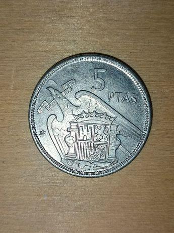 Hiszpania, 5 Ptas 1957 r. znak 68 Moneta