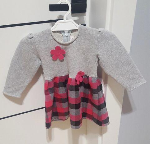 Sukienka niemowlęca 86 różowa kratka Maksiu