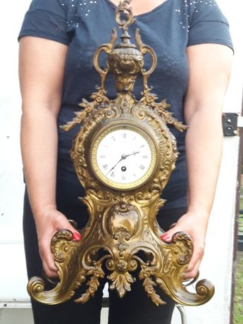 Zegar kominkowy mosiężny brąz antyk XIX wiek duży  58cm