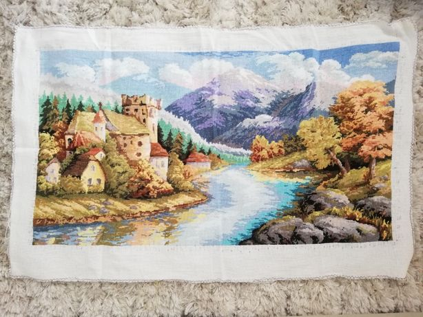 Obraz duży ręcznie wyszywany na kanwie, krajobraz górski, widok