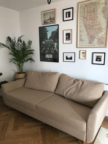 Sofa 3 osobowa rozkładana beż nude retro nóżki skandynawski styl