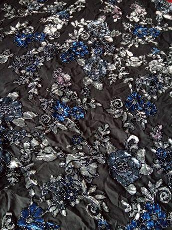 Новая ткань сетка с бархатными цветами 1,83на 1,40