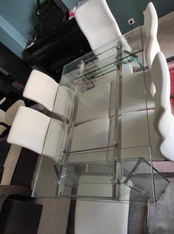 Mesa de vidro de jantar - Extensível - como nova!