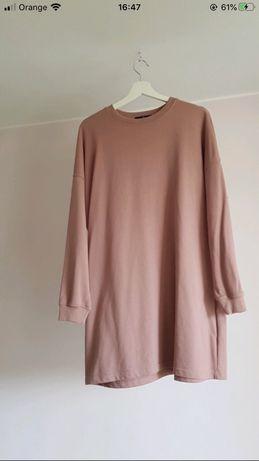 Bluza sukienka bluzosukienka sukienkobluza brudny róż oversize