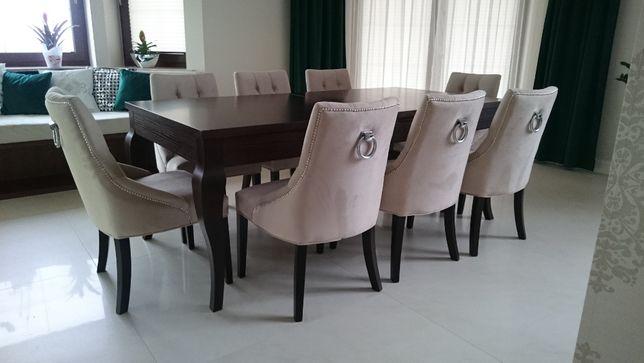 Krzesło eleganckie nowoczesne z kołatką glamour chesterfield pikowane
