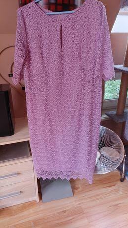 Sukienka z koronki liliowa