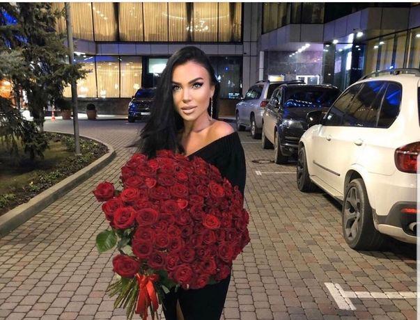 Красная роза! Букет 55 красных роз! Цветы роза, доставка цветов!