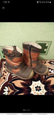 Сапоги ботинки зимние кожаные на меху