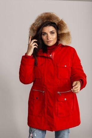 Парка куртка пуховик Италия! красного цвета с мехом финской лисы