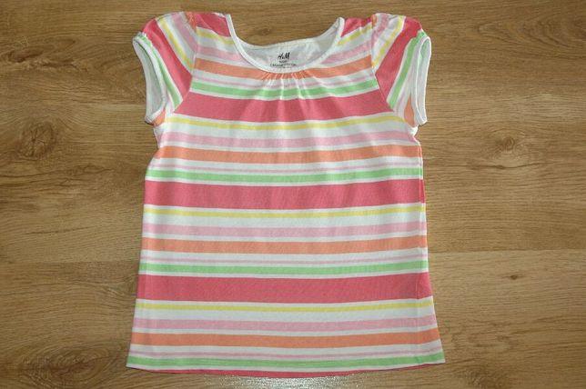 H&M bluzeczka T-shirt bluzka paseczki r,122-128