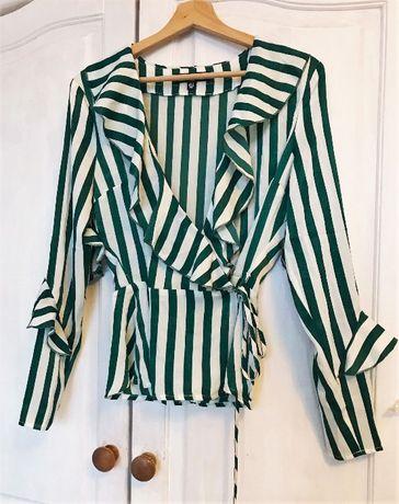 Missguided nieuzwana bluzka koszula w paski zielona biala ideal hit